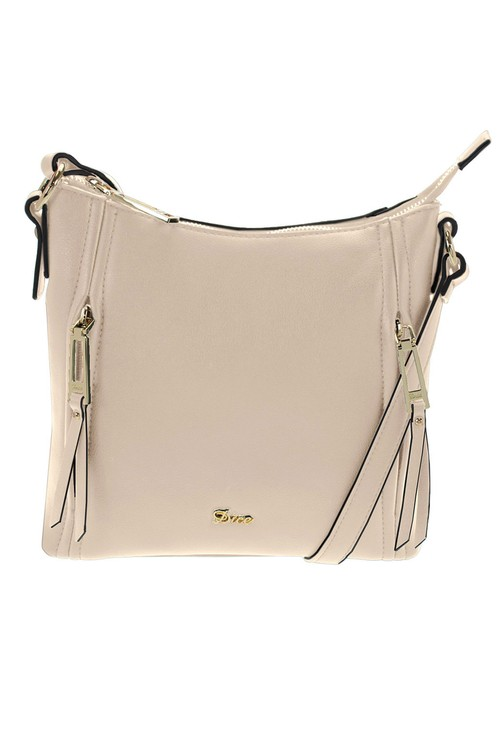 Dice Beige Zip Detail Crossbody Bag
