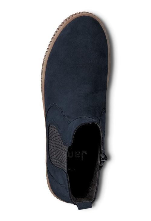 Jana Navy Faux Suede Side Zip Comfort Boot