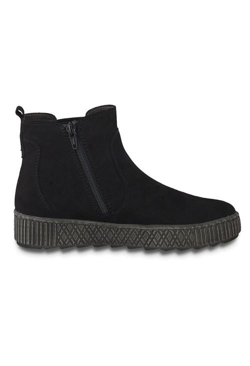 Jana Black Faux Suede Side Zip Comfort Boot