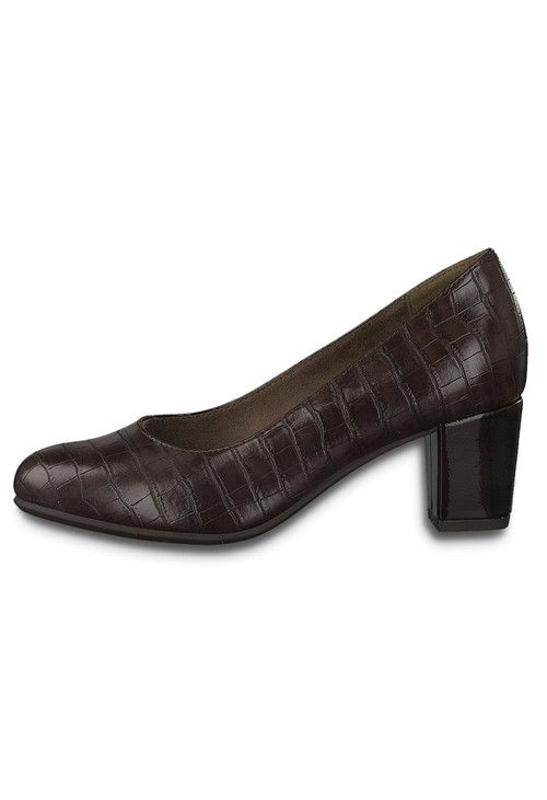 Jana Cognac Croc Print Low Heel Court Shoe