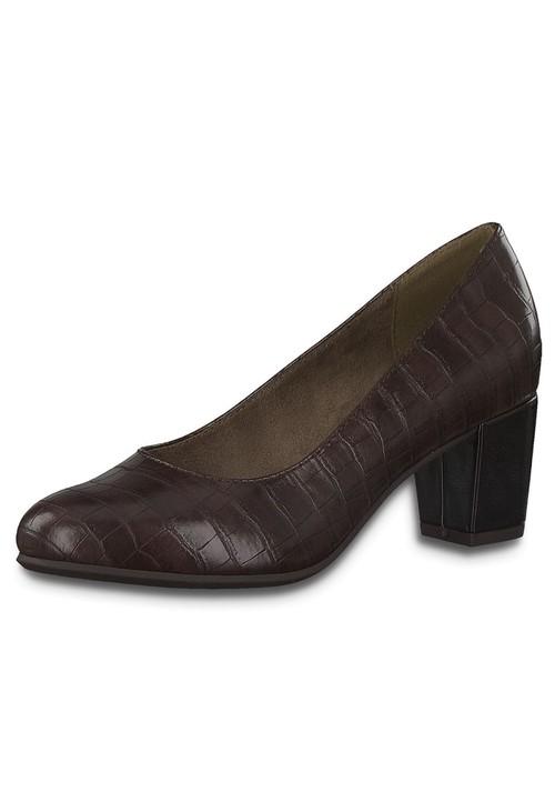Jana Cognac Croc Print Low Heel Court Shoe