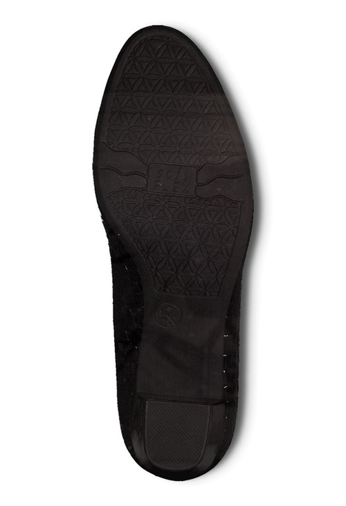 Jana Black Croc Print Low Heel Court Shoe