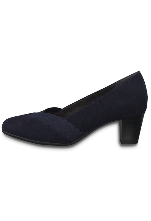 Jana Navy Microfibre Low Heel Court Shoe