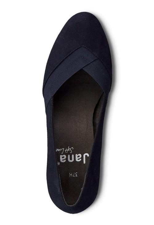 Jana Navy Microfibre Low Heel Court Shoe