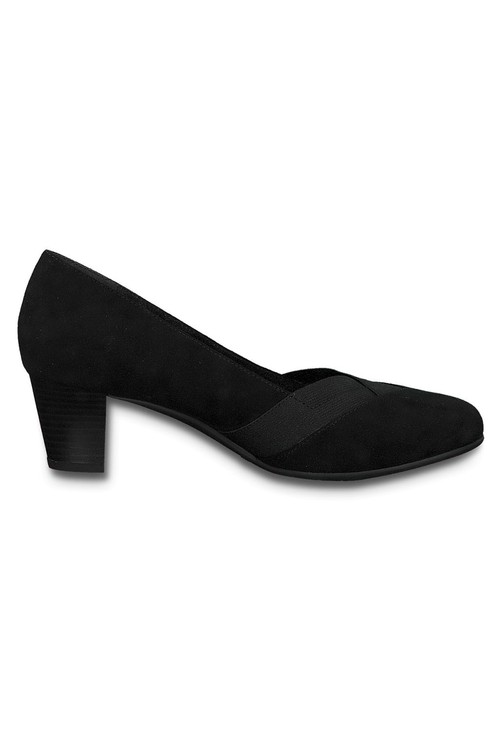 Jana Black Microfibre Low Heel Court Shoe