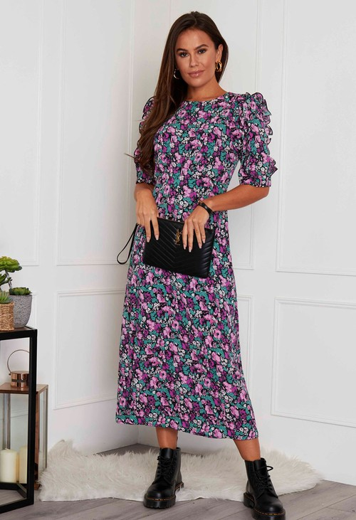 Pamela Scott Adelyn Frill Sleeve Midi Dress Purple