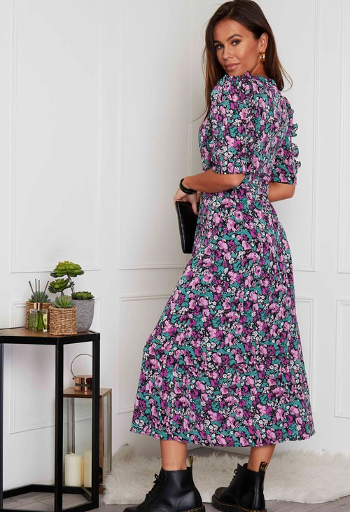 Pamela Scott Adelyn Frill Sleeve Midi Dress Purple