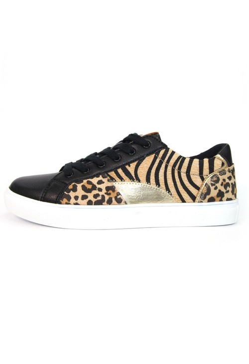Lunar Black Trainer with ocelot, tiger and gold panels