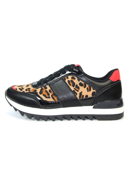 Lunar Black Trainer with animal print