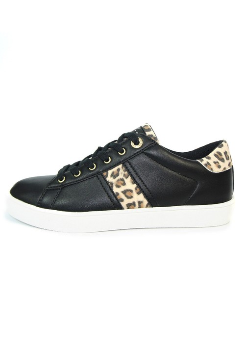 Lunar Lightweight Black Classic Trainer with Animal Print