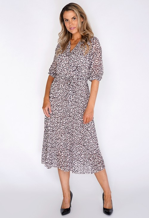 Zapara Animal Print Pleated Dress