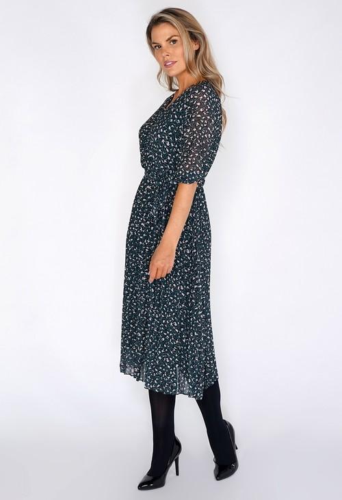 Zapara Animal Print Pleated Dress