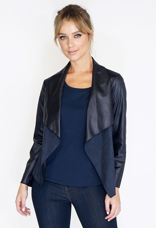 Sophie B Faux Suede Panel Drape Jacket
