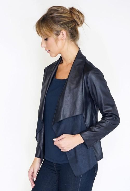 Sophie B Faux Suede Panel Drape Jacket
