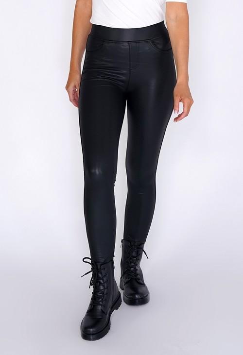 Pamela Scott Faux Leather Leggings with Pockets