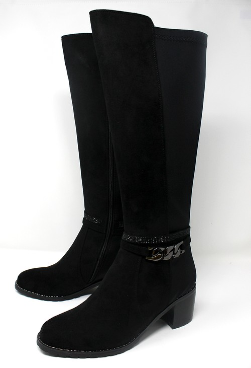 Pamela Scott Black Microfibre & Fabric Long Leg Side Zip Boot