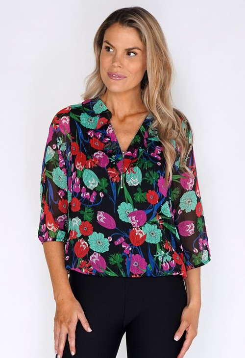 Zapara Floral blouse with zip detail neck