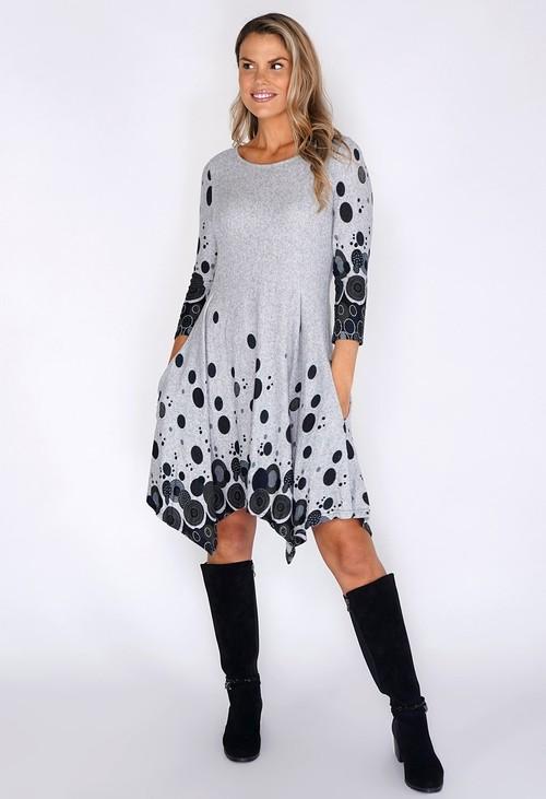 Pamela Scott Light Grey Spot Detail Dress