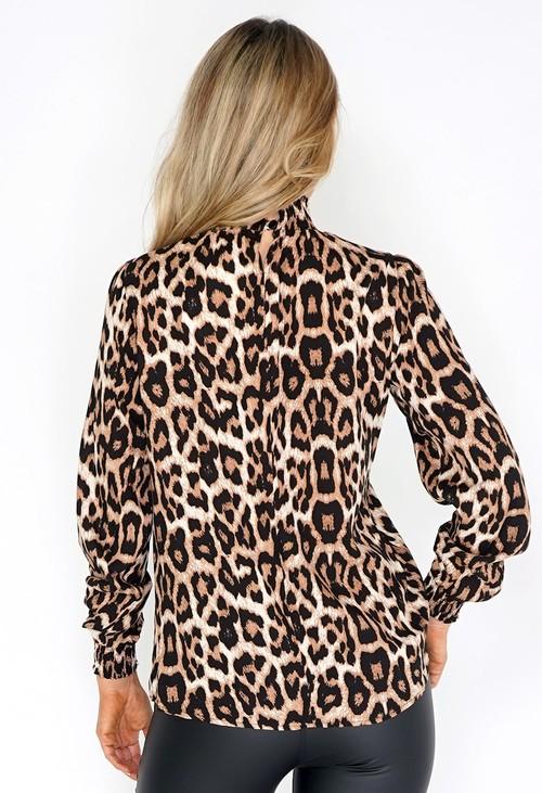 Zapara High Neck Leopard Print Blouse