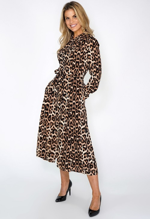 Zapara Leopard Print Shirt Dress