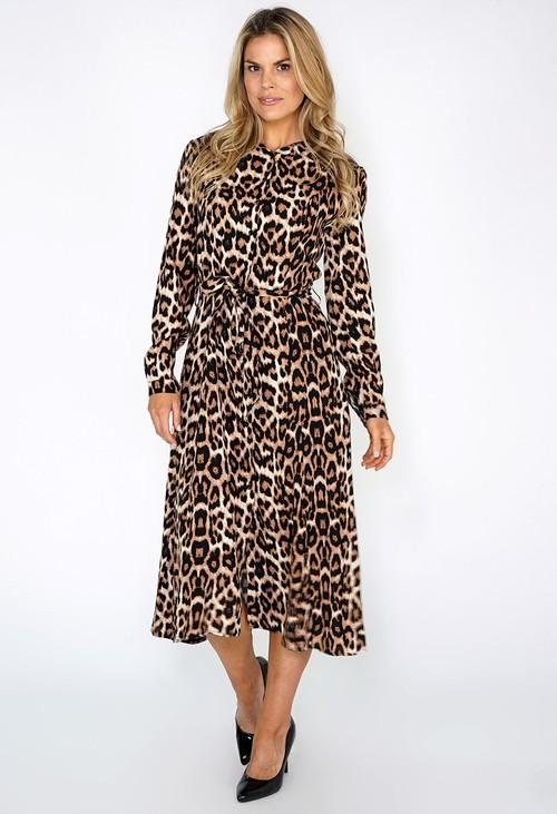 Zapara Leopard Print Shirt Dress