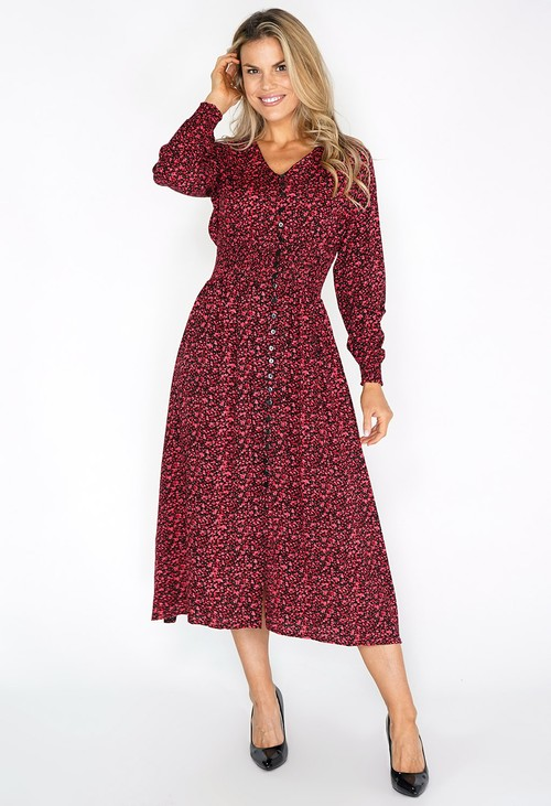 Zapara Red Mini Bloom Print Dress