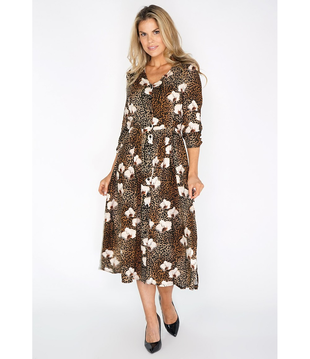 Zapara Brown Leopard and Floral Print Dress