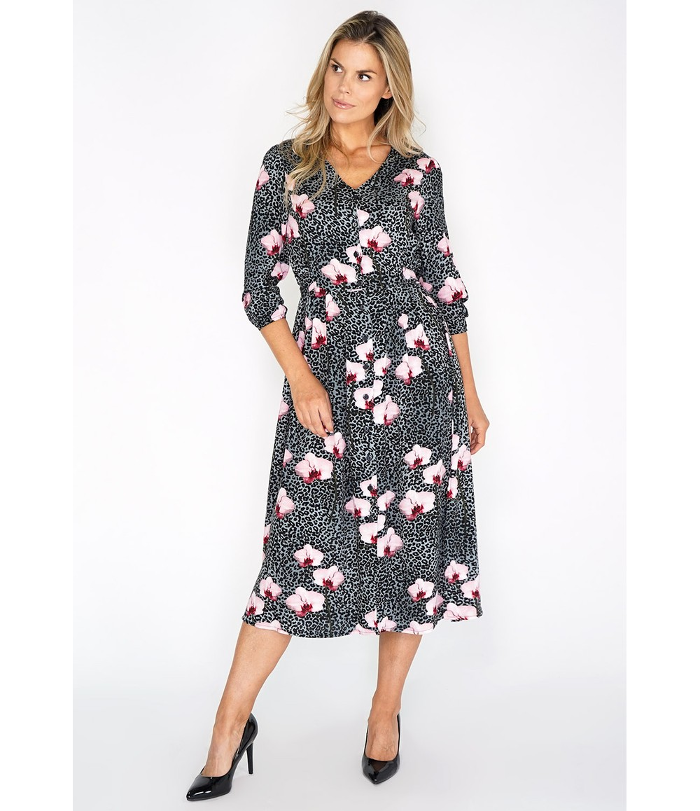 Zapara Grey Leopard and Floral Print Dress