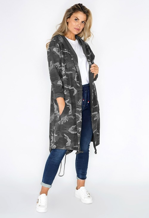 Pamela Scott Grey CAMO OPEN HOODY