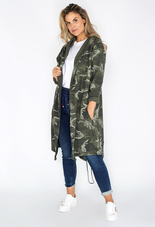 Pamela Scott Green CAMO OPEN HOODY