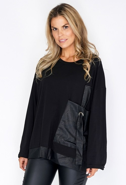 Pamela Scott Large Pocket Detail Black Top