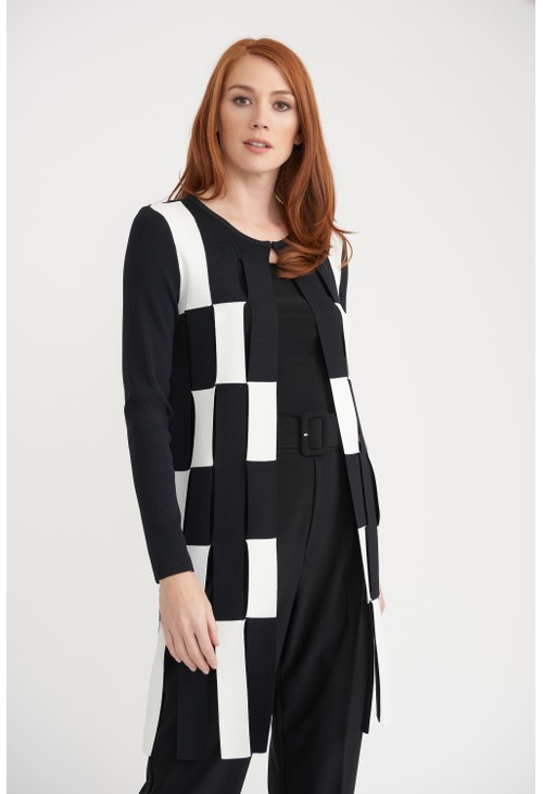 Joseph Ribkoff Graphic Checkerboard Cardigan
