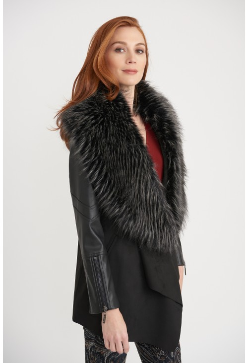 Joseph Ribkoff Faux Fur Collar Coat
