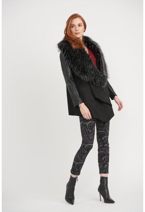 Joseph Ribkoff Faux Fur Collar Coat