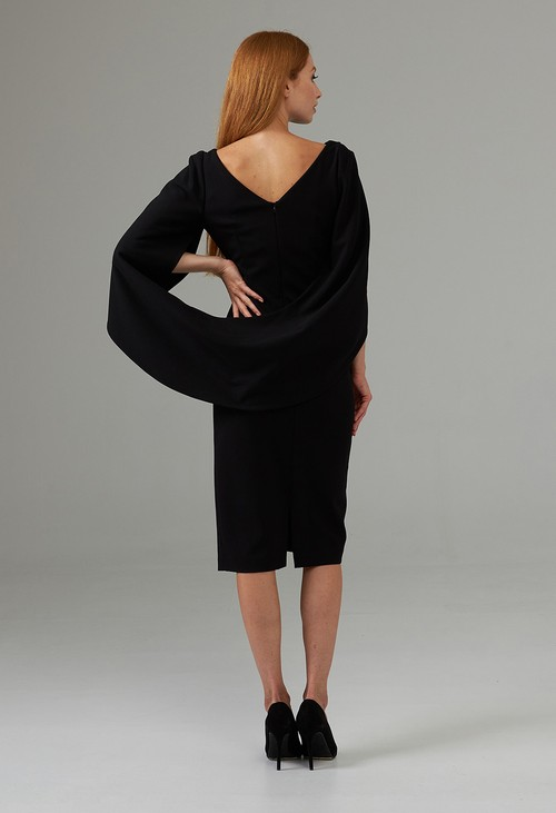 Joseph Ribkoff Boat Neck Caped Dress