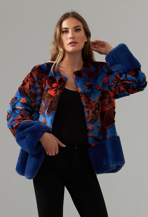 Joseph Ribkoff Faux Fur Design Jacket