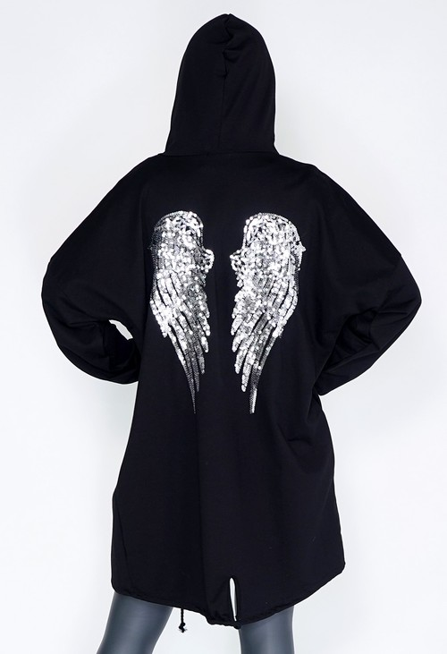 Zapara Sequin Wings Open Hoody