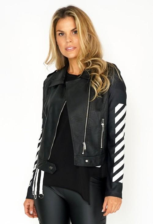 Pamela Scott PU Black Leather Jacket with White Stripped Sleeve