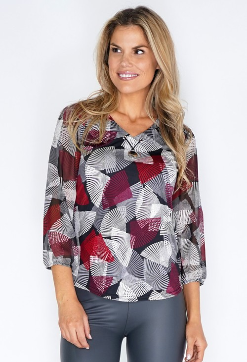 Sophie B Red and Grey Fan Print Top