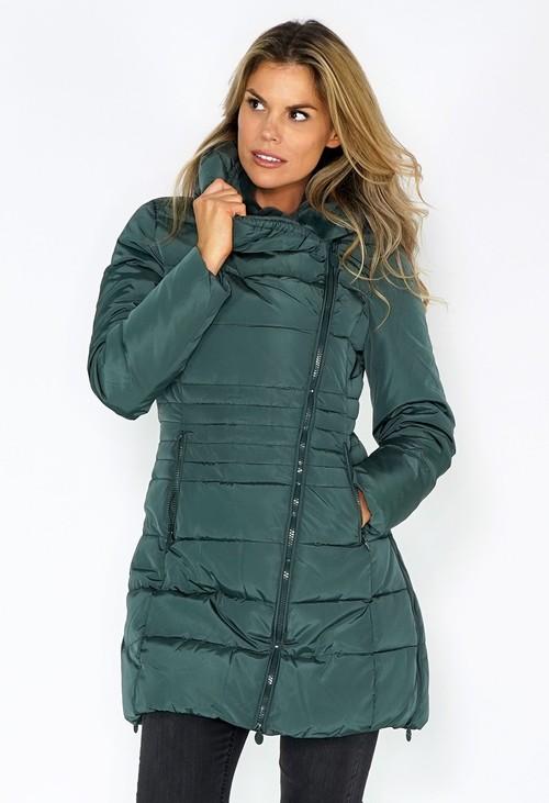 Pamela Scott Green Zip Up Parka with Fur Lined Hood