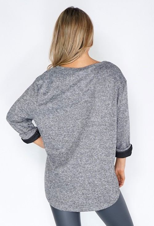 Zapara Grey Feather Print Knit Pullover