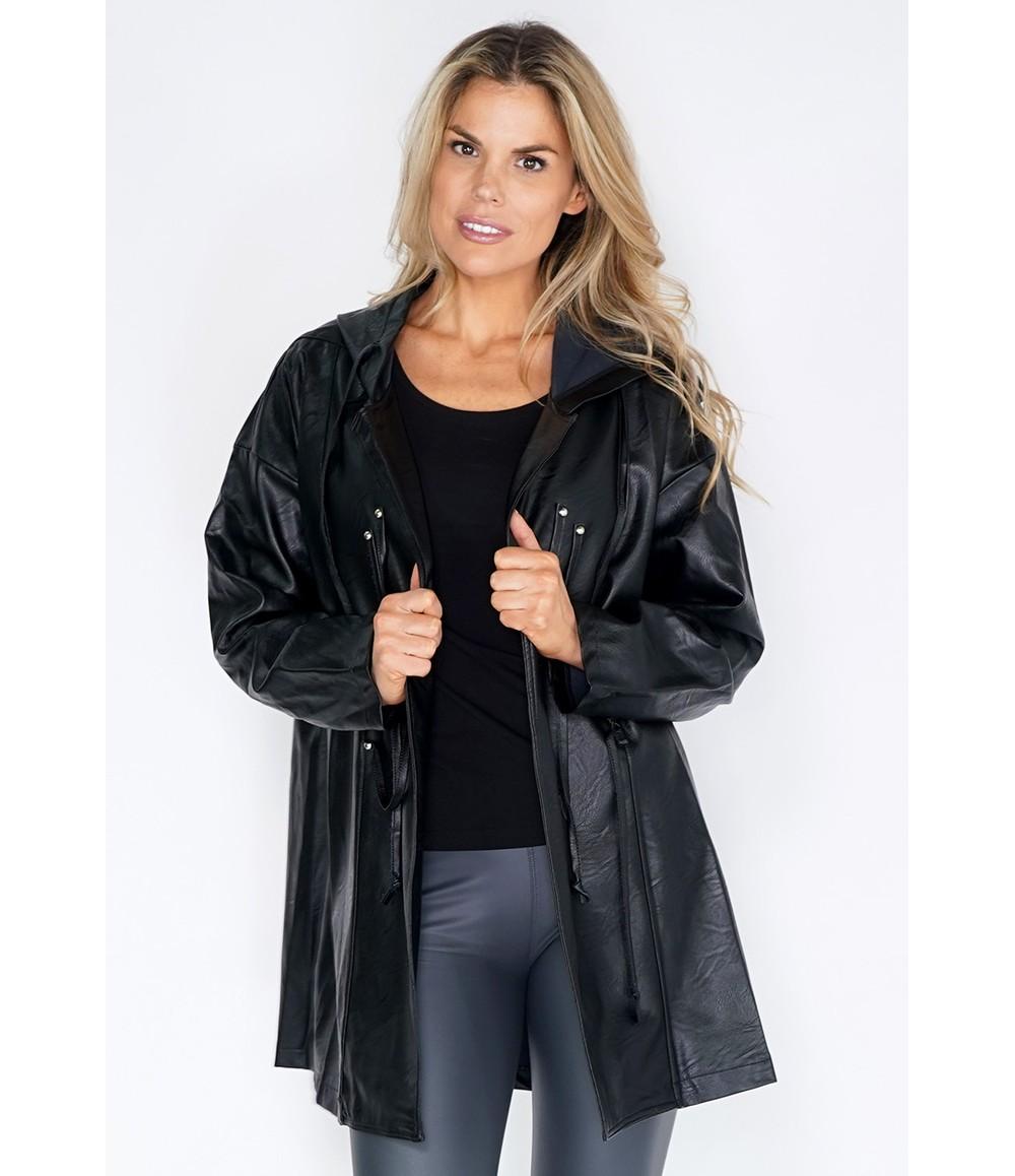 Pamela Scott Black Leather Hooded Coat