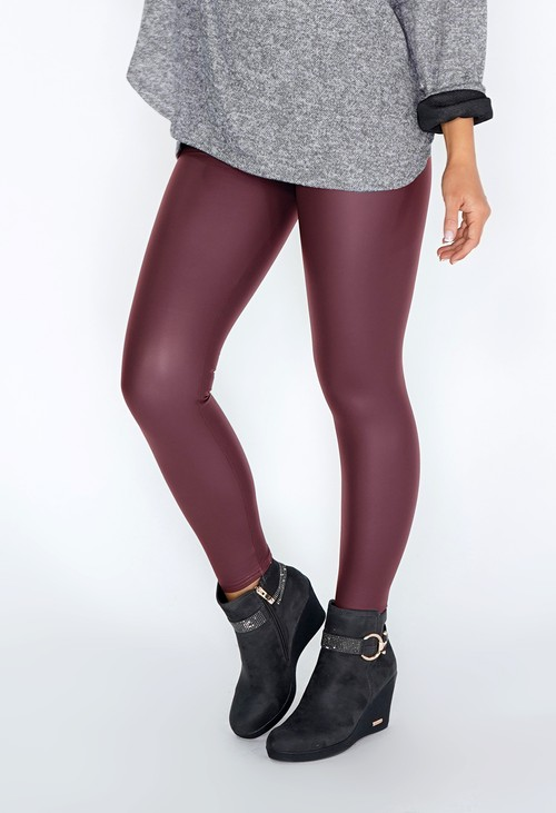 PS Leggings Burgundy FAUX LEATHER LEGGINGS