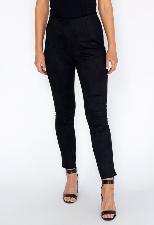Zapara Black Suede Leggings