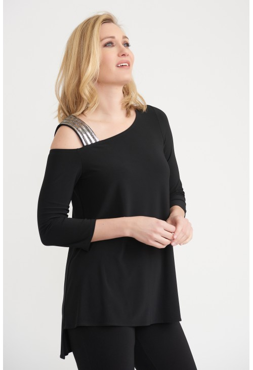 Joseph Ribkoff Embellished Shoulder Strap Top