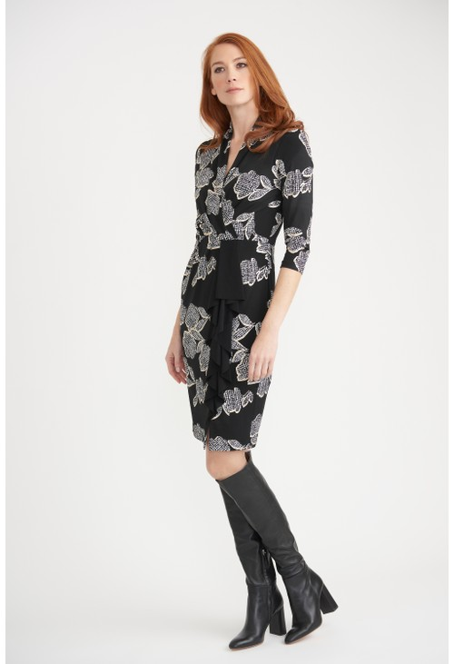 Joseph Ribkoff black and white floral silky knit dress