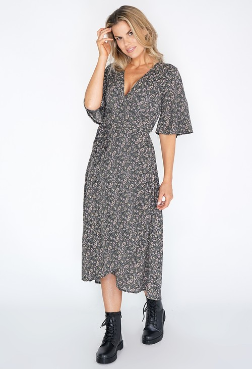 Pamela Scott Long Mini Flower Print Wrap Dress with Short Sleeves