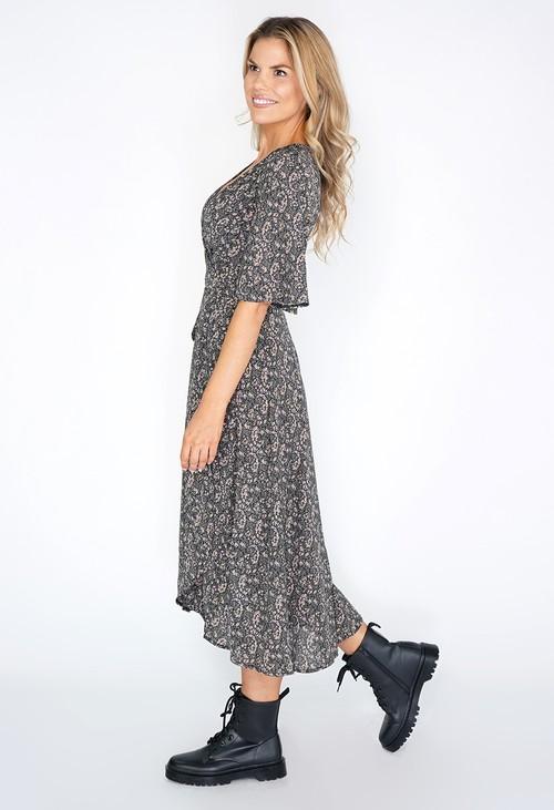 Pamela Scott Long Mini Flower Print Wrap Dress with Short Sleeves