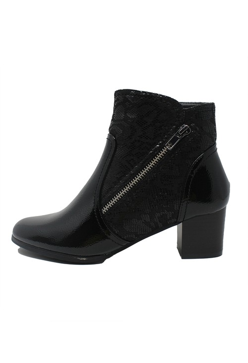 Pamela Scott Black Patent Side Zip Ankle Boot