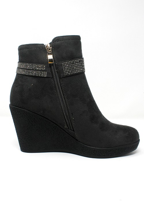 Shoe Lounge Grey Microfibre Side Zip Ankle Wedge Boot